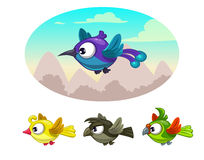Funny cartoon flying different birds Stock Photography