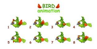 Funny cartoon flying green parrot Stock Photos