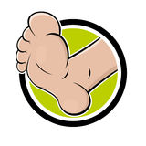 Funny cartoon foot. In a badge Stock Images
