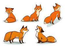 Funny Cartoon Foxes Royalty Free Stock Image