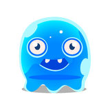 Funny cartoon friendly blue slimy monster. Cute bright jelly character vector Illustration Royalty Free Stock Photos