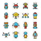 Robots line coloured vector icon set stock illustration