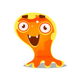 Funny cartoon friendly slimy monster. Cute bright jelly character vector Illustration Royalty Free Stock Photo