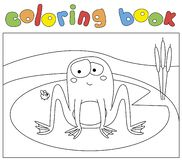 Funny cartoon frog and fly. Coloring book for kids. Digital illustration royalty free illustration