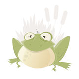 Funny cartoon frog with reed in background Royalty Free Stock Photography