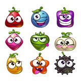 Funny cartoon fruit and berry characters set. Isolated on white. Vector illustration Stock Photography