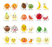 Funny cartoon fruit characters . Big cute set.  couples vector illustrations.  happy faces. Collection emotions Stock Photos
