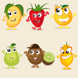 Funny cartoon of fruit characters. Royalty Free Stock Photos