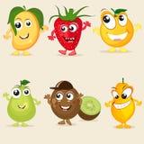 Funny cartoon of fruit characters. Royalty Free Stock Photos