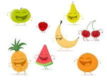 Funny cartoon fruit collection royalty free illustration