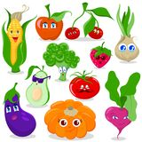 Funny cartoon fruit and vegetables vector set. Of illustrations stock illustration