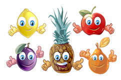 Funny cartoon fruits icons stock illustration