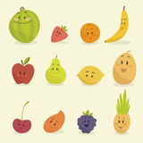 Funny cartoon fruits  illustration Stock Photography