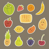 Funny cartoon fruits  illustration Stock Photos