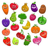 Funny cartoon fruits and vegetables characters Stock Photos
