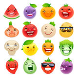 Funny Cartoon Fruits and Vegetables with Different Stock Photo