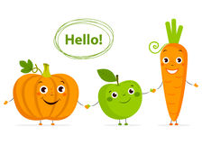 Funny Cartoon fruits and vegetables with eyes in flat style. Royalty Free Stock Images