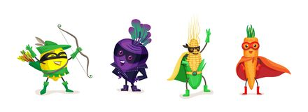 Healthy eating, organic products, vegetarian food, in superhero costumes. Funny cartoon fruits and vegetables in superhero costumes. Healthy eating, organic vector illustration