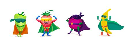 Funny cartoon fruits and vegetables in superhero costumes, vegetarian food. Funny cartoon fruits and vegetables in superhero costumes. Healthy eating, organic stock illustration