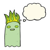 Funny cartoon ghost with thought bubble Royalty Free Stock Photography