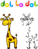 Funny cartoon giraffe dot to dot Stock Photography