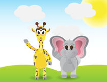 Funny cartoon giraffe and elephant Royalty Free Stock Photos