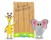 Funny cartoon giraffe and elephant friend forever Stock Image
