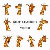 Funny Cartoon Giraffe emotions color set stock illustration