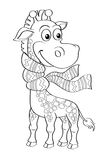 Funny cartoon giraffe with scarf. Black and white vector illustration for coloring book Royalty Free Stock Photo