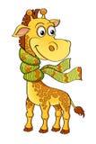 Funny cartoon giraffe with scarf Royalty Free Stock Photos