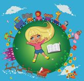 Funny cartoon girl with book Stock Images