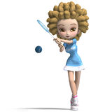Funny cartoon girl with curly hair plays tennis Stock Image