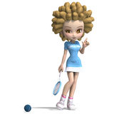 Funny cartoon girl with curly hair plays tennis Royalty Free Stock Photo