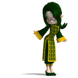 Funny cartoon girl in green china dress. 3D rendering with clipping path and shadow over white Royalty Free Stock Images