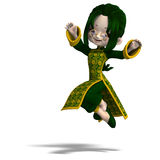 Funny cartoon girl in green china dress. 3D Royalty Free Stock Photography