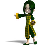 Funny cartoon girl in green china dress. 3D Royalty Free Stock Photos