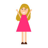 Funny cartoon girl is happy to raise her arms up Royalty Free Stock Image