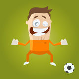 Funny cartoon goalkeeper Stock Images