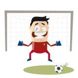 Funny cartoon goalkeeper Stock Photography