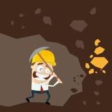 Funny cartoon gold digger Stock Photo