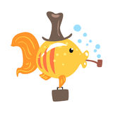 Funny cartoon golden fish in a hat with briefcase smoking pipe colorful character vector Illustration. On a white background Royalty Free Stock Image