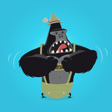 Funny cartoon gorilla in bavarian lederhosen Royalty Free Stock Image