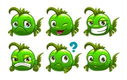 Funny cartoon green fish Stock Images