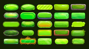 Funny cartoon green long horizontal buttons. Collection, vector assets for game or web design Royalty Free Stock Images