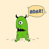 Funny cartoon green monster with silly face expression Royalty Free Stock Photography