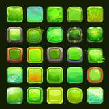 Funny cartoon green square buttons Royalty Free Stock Photos