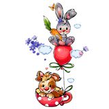 Funny cartoon greeting card with animals for congratulations. Little puppy and nice bunny smile Stock Photography