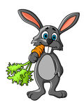 Funny cartoon grey rabbit eating Stock Image