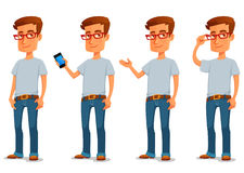 Funny cartoon guy in casual clothes Royalty Free Stock Images