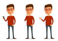 Funny cartoon guy with glasses. In various poses Stock Photo